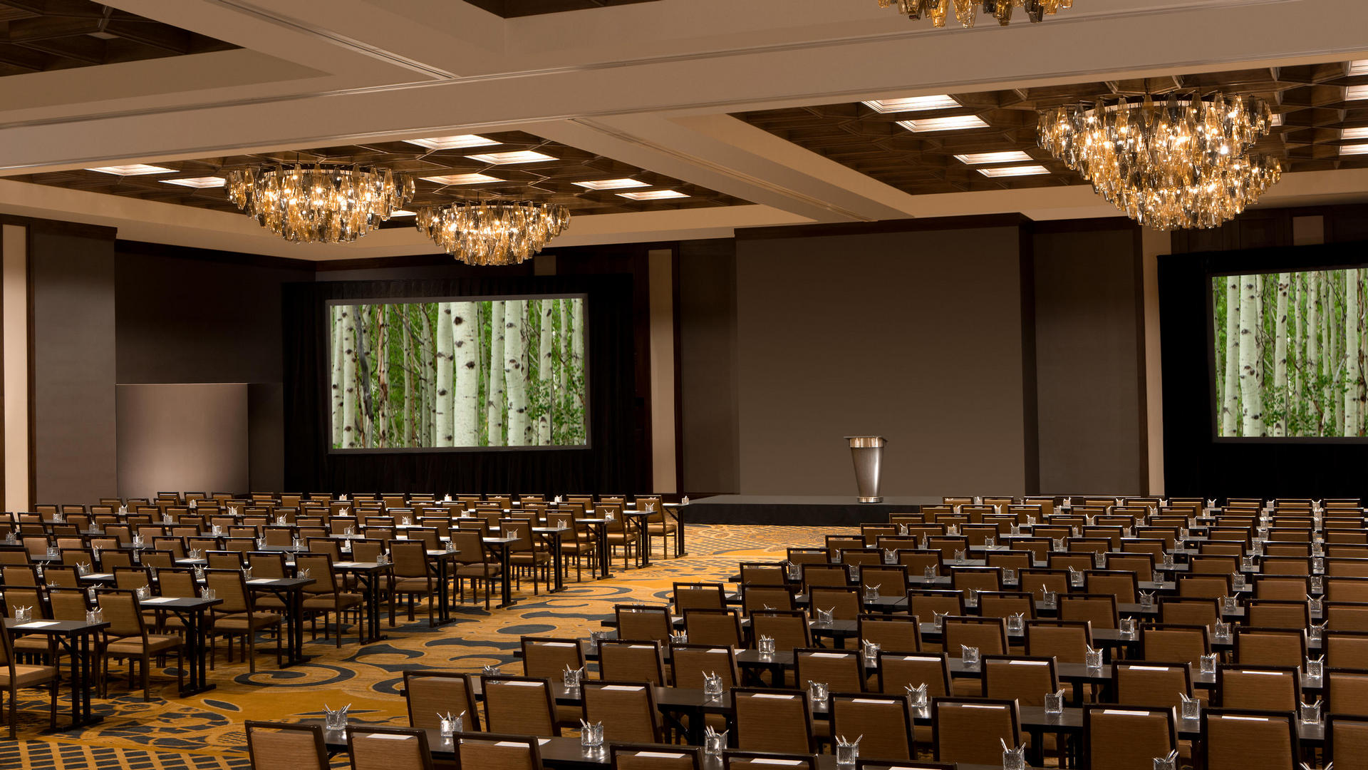 large meeting conference room with chairs lined up and a stage