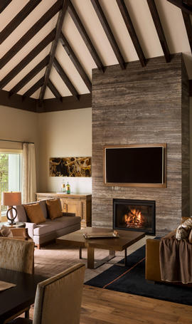living area with large fireplace