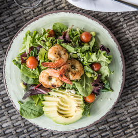 salad with shrimp on it