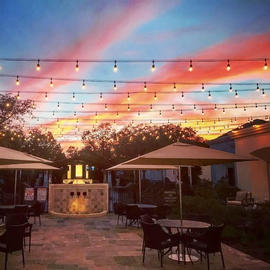 outdoor patio with lights hanging overhead