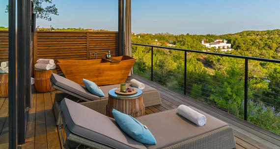 chairs on a deck and loma de vida spa