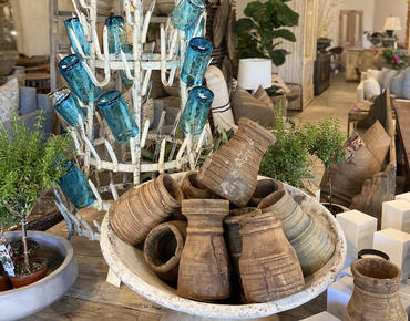 bowl of wooden decor items